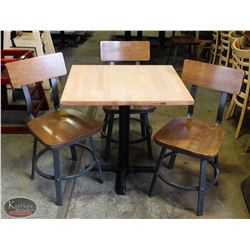 LAMINATED WOOD TOP TABLE W/ 3 WOODEN CHAIRS