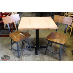 LAMINATED WOOD TOP TABLE W/ 2 WOODEN CHAIRS