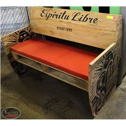 SOL CERVEZA WOODEN FOYER BENCH W/ PADDED SEAT
