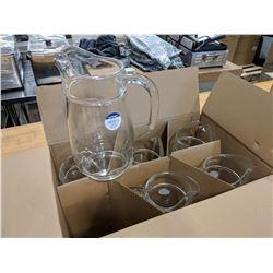 77.5OZ/2.3L TIVOLI GLASS PITCHERS - LOT OF 6 (1 CA