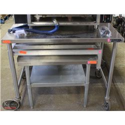 WASSERTROM S/S PREP-TABLE ON CASTORS W/ BACKSPLASH