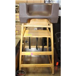 COMMERCIAL WOODEN HIGHCHAIR W/ PLASTIC BOOSTER
