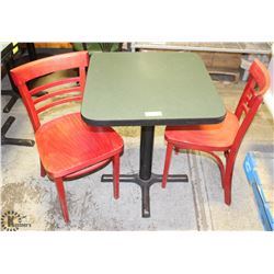 SQUARE RESTAURANT TABLE SOLD W/ 2 WOODEN CHAIRS