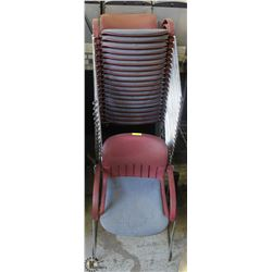 LOT OF 20 BURGUNDY STACKING CHAIRS ON CHOICE