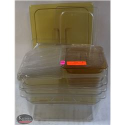 LOT OF 6  ASSORTED POLYCARB INSERTS W/ LIDS