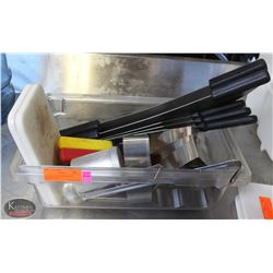 TOTE OF ASSORTED KITCHEN UTENSILS INCL: