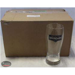 CASE OF 12 BOUNDARY ALE BEER GLASSES, PINT