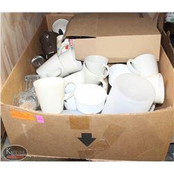 BOX OF ASSORTED GLASSWARE, KITCHEN UTENSILS, WOOD