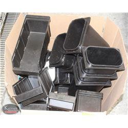 BOX OF BLACK STACKING STORAGE BINS SOLD W/
