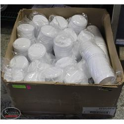 1 CASE OF 32 OZ WHITE LIDS, 20 SLEEVES