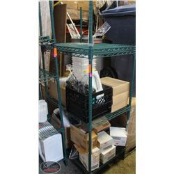 3-TIER COMMERCIAL GREEN-WIRE RACK + EXTRA SHELF