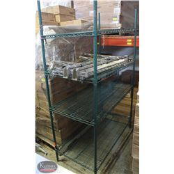 4FT, 4-TIER COMMERCIAL GREEN-WIRE STORAGE RACK