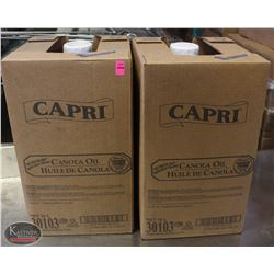 TWO 16L JUGS OF CAPRI CANOLA OIL-UNOPENED