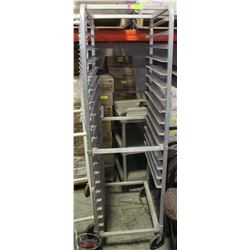 14 SLOT COMMERCIAL BAKERS RACK WITH/ CASTORS-AS IS