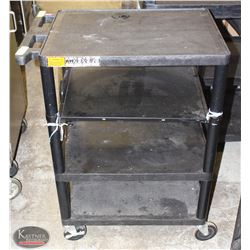 BLACK 3 TIER SERVICE CART W/ ADDED 4TH TIER