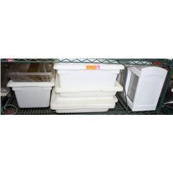 SHELF CONTENTS INCL: 12 RUBBERMAID STORAGE TOTS,
