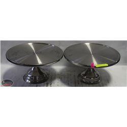 LOT OF 2 STAINLESS STEEL PIZZA/DESSERT SERVING