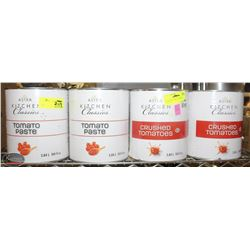 FOUR CLARGE CANS OF TOMATO FOOD PRODUCT