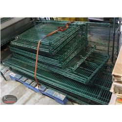 LARGE LOT OF VARIOUS SIZED GREEN METRO-RACKING