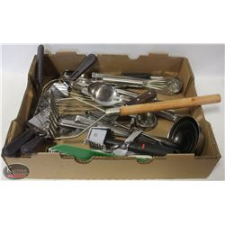 FLAT OF ASSORTED COMMERCIAL KITCHEN UTENSILS
