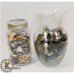 2 JARS FULL OF JEWELRY