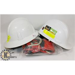 HARD HATS AND 1 SMA SAFETY HARNESS