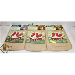 LOT OF 3 NEW 100% NATURAL PEPPER GROW BAGS.