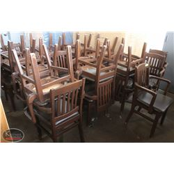 LOT OF 23 BROWN WOODEN CHAIRS WITH LEATHER LIKE
