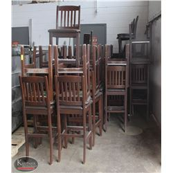 LOT OF 41 BROWN WOODEN BAR STOOLS WITH LEATHER