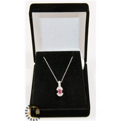 #46-PINK SAPPHIRE PENDANT NECKLACE