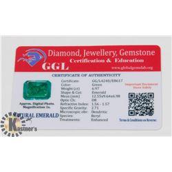 #78-GENUINE EMERALD LOOSE GEMSTONE 6.97CT