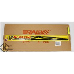 "BOX OF 5 ALL SEASON 21"" METAL WIPER BLADES."