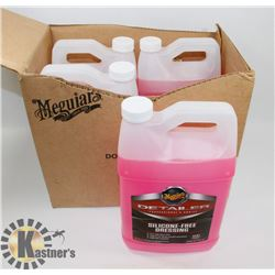 LOT OF 4 MEGUIARS 3.78L SILICONE FREE DRESSING.