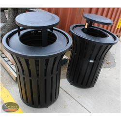 LOT OF 2 BLACK METAL WASTE BINS