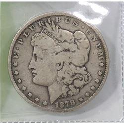 1878 US MORGAN SILVER DOLLAR.