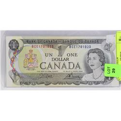 1973 CANADIAN UNCIRCULATED $1.00 BILL.