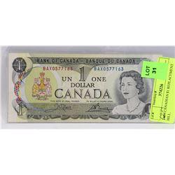 1973 CANADIAN $1 BILL.