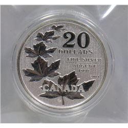 2011 $20 COMMEMORATIVE MAPLE LEAF .999 SILVER COIN