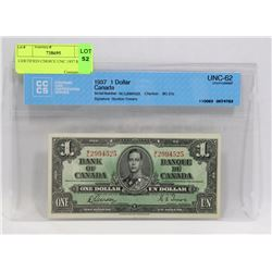 CERTIFIED CHOICE UNC 1937 $1