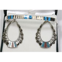 .925 SILVER BANGLE BRACLET AND MATCHING EARRINGS