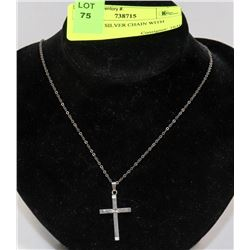 STERLING SILVER CHAIN WITH CROSS