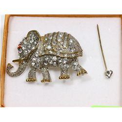 VINTAGE RHINESTONE ELEPHANT BROOCH
