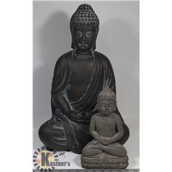 LOT OF 2 BUDDHA STATUETTES, 1 LARGE, 1 SMALL