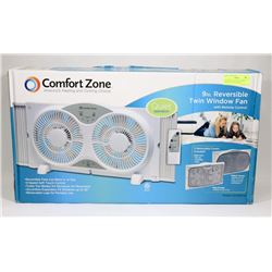 "COMFORT ZONE 9"" REVERSIBLE TWIN WINDOW FAN WITH"