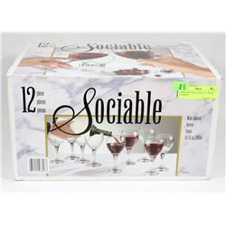 LIBBY SOCIABLE BOX OF 12 WINE GLASSES