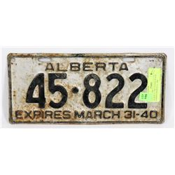 ALBERTA 1940 LICENSE PLATE EXPIRES MARCH 31, 1940
