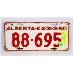 ALBERTA 1950 LICENSE PLATE EXPIRES  31.3.50