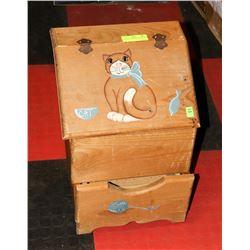 WOODEN CAT  FOOD STORAGE BOX
