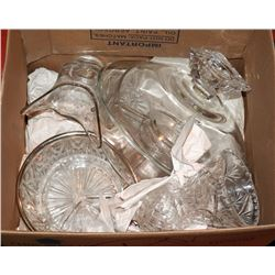BOX OF ESTATE GLASSWARE AND CRYSTAL VASES ETC.