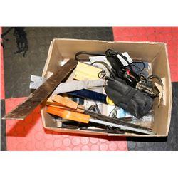 BOX OF TOOLS INCL SAWS & SOLDERING GUN.